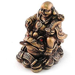 Lucky Brown Resin Buddha on Three Legged Wealth Toad Feng Shui Figurine 27697
