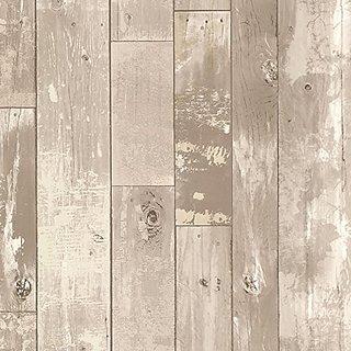 Brewster 347-20130 Heim Distressed Wood Panel Wallpaper, Grey