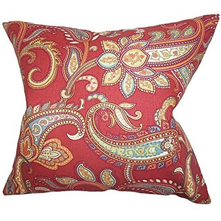 The Pillow Collection Galila Floral Pillow, Red