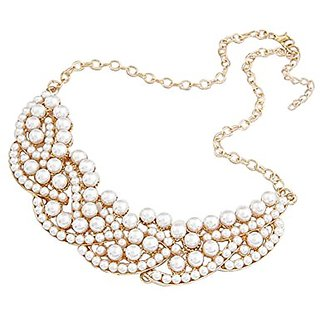 Etiger New Fashion Design Pearl Necklace Hollow out Choker Bib False Collar Necklace Flower Pendant Necklace