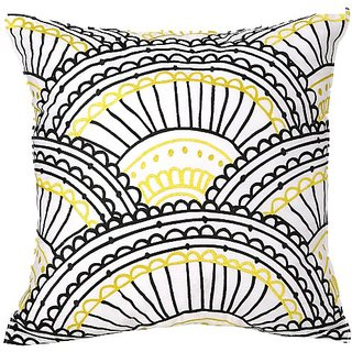 Trina Turk Zebra Stripe Sunrise Embroidered Decorative Pillow, 20 by 20-Inch, Yellow/Black