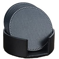 Accmart Set Of 6 PU Leather Coasters Cup Mats With Holder Home Office Hotel Use Black