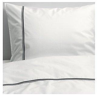Ikea Bedding 3 Piece Full / Queen Duvet Cover Set White with Raised Metallic Stripe -- Haxort