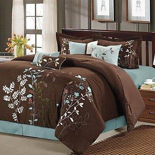 Chic Home Vines 8-Piece Comforter Bedding Set, Brown, Queen
