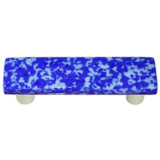 Aquila Art Glass HK8056-PA Granite Collection Pull, Cobalt Blue and White