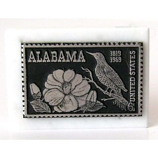 Alabama 6 cent Pewter and Marble Stamp Dory Paper Weight