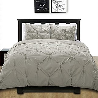 Cotton Basics Cottonesque Pintuck Duvet Cover Mini Set, Twin, Solid, Grey