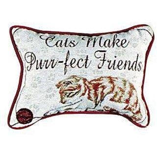 Cats Make Purr-fect Friends Decorative Tapestry Toss Pillow