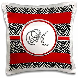 3dRose Elegant Red black Zebra Animal Print Monogram Letter M-Pillow Case, 16 by 16