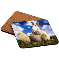 Rikki Knight White Easter Bunny With Yellow Chicks In Basket Design Cork Backed Hard Square Beer Coasters, 4-Inch, Brown