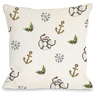 Bentin Home Decor Nautical Xmas Pattern Throw Pillow w/Zipper by Timree Gold, 18