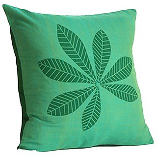 Green Leaf 12 Inch Square Pillow 100% Cotton Fair Trade with Insert