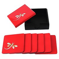 Red Dragonfly Lacquer Coaster Set Of 6 Coasters (4682)