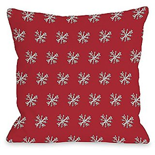 Bentin Home Decor Starry Eyed Snowflakes Throw Pillow by Timree Gold, 18