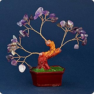 Bonsai Gemstone Tree of Happiness with Amethyst Gemstones - 29122.