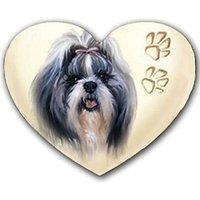 Shih Tzu Heart Shaped Rubber Coasters Set Of 4