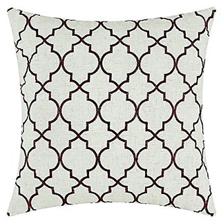 CaliTime Throw Pillow Cover 17 X 17 Inches, Vintage Diamonds Geometric Trellis Embroidered, Burgundy