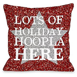 Bentin Home Decor Holiday Hoopla Star Throw Pillow w/Zipper by OBC, 18