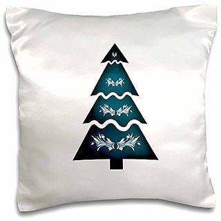 3dRose pc_181942_1 Christmas Tree Sectional Ornament 2 Teal Green Pillow Case, 16