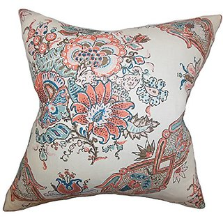 The Pillow Collection P20-d-sissy-coral-l100 Laelia Floral Pillow, Coral, 20