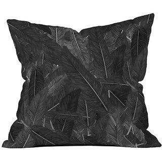 DENY Designs Matt Leyen Feathered Dark Throw Pillow, 16 x 16