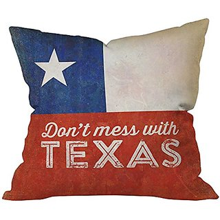 DENY Designs Anderson Design Group Dont Mess with Texas Flag Indoor Throw Pillow, Medium