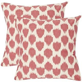 Safavieh Pillow Collection Loves Embrace 18-Inch Decorative Pillows, White and Rose, Set of 2