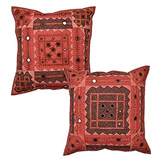 Decorative Red Pillows Cases Cotton Indian Ethnic 40x40 Throw Pillows Patchwork Indian Style Cushion Covers Set Of 2 Geo