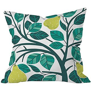 DENY Designs Lucie Rice Pear Tree Throw Pillow, 18 x 18