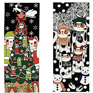 Maneki Neko Tenugui Towel Set of 2(Christmas Ice Monster)1466-1467