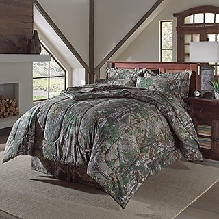 4 PC Realtree Xtra Green Camo Camouflage Comforter Set (Sheet set sold separately) QUEEN SIZE