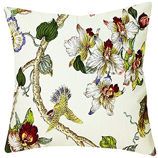 Wrapables Floral Hummingbird Pillow Cover, White