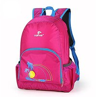 TOFINE Hit Color Packable Nylon Backpack Adjustable Straps Hot Pink 25L