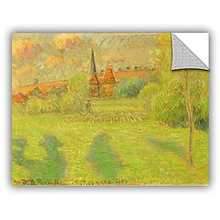 ArtWall Camille Pissarros The Shepard and The Church of Eragny 1889 Removable Wall Art Mural, 14 x 18