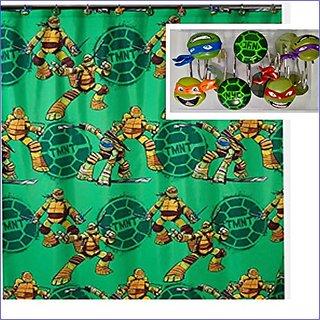 Teenage Ninja Turtles Shower Curtain - 72 x 72 WITH Ninja Turtles Shower Hooks