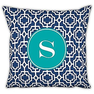 Whitney English Designer Lattice Square pillow with Single Initial, S, Multicolor