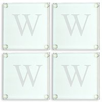 Cathys Concepts Personalized Glass Coasters, Set Of 4, Letter W