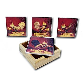 4 Piece Rooster Coaster Set With Holder