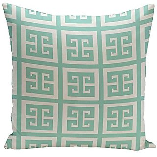 E By Design PG-N66-Aqua-18 Geometric Decorative Pillow, 18-Inch, Aqua
