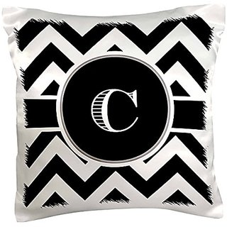 3dRose Black and white chevron monogram initial C - Pillow Case, 16 by 16-inch (pc_222065_1)