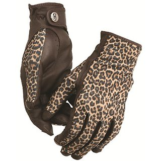 HJ Glove Womens Brown Leopard Solaire-X UV Golf Glove, Small, Pair