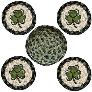 Earth Rugs 29-CB116S Shamrock Design Round Jute Basket with 4-Printed Coasters, 5