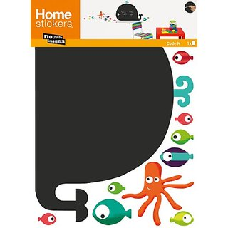 Nouvelles Images HOST1920 Whale and Octopus Chalkboard Wall Decals