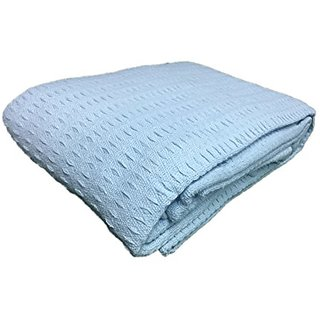 Cozy Bed Santa Barbara Waffle Weave Blanket, King, Light Blue