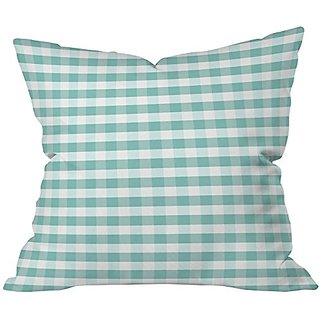 DENY Designs Caroline Okun Icy Gingham Throw Pillow, 18 x 18