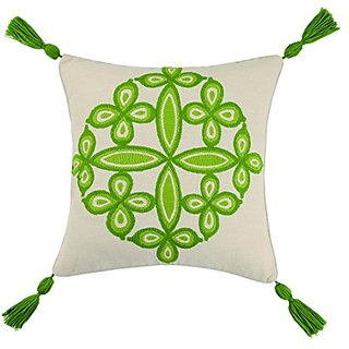 Trina Turk Desert Medallion Tassel Fringe Embroidered pillow, 20x20 Inch , Green