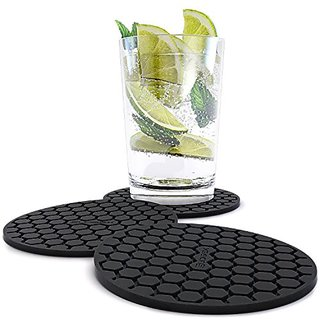 Amazing Quality Drink Coaster Set (8pc), Sleek Modern Design. Prevents Furniture Damage, Absorbs Spills and Condensation