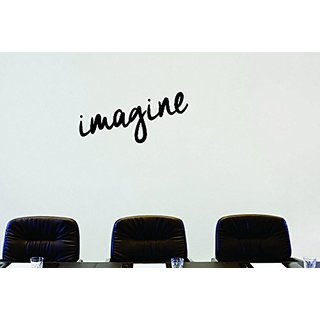 Design with Vinyl Moti 1652 3 Imagine Text Lettering Life Quote Peel & Stick Wall Sticker Decal, 16