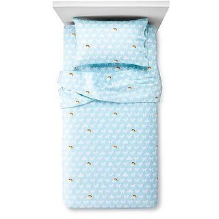 Circo Unicorns and Rainbows Flannel Sheet Set - Blue - Full