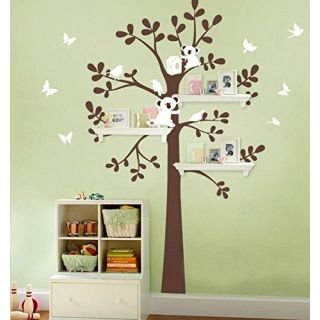 MAFENT(TM)Bear Birds Butterfly Play around Tree Wall Decal Removable Vinyl Wall Sticker for Baby Kids Children Room Deco